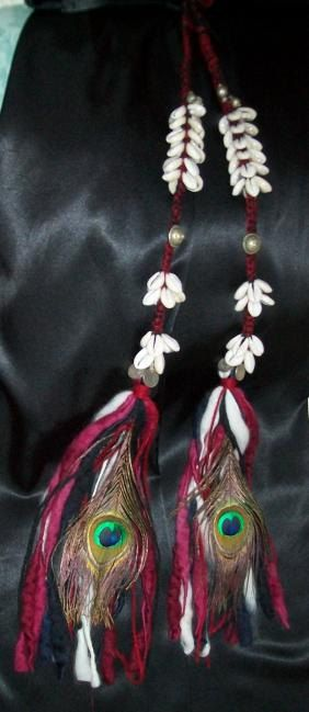 Red Tribal Belly Dance Cowrie Tassel Hair Falls