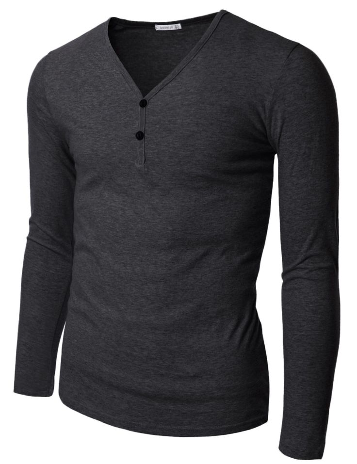 Mens Long Sleeve V-Henley Neck T-Shirts (KMT016)