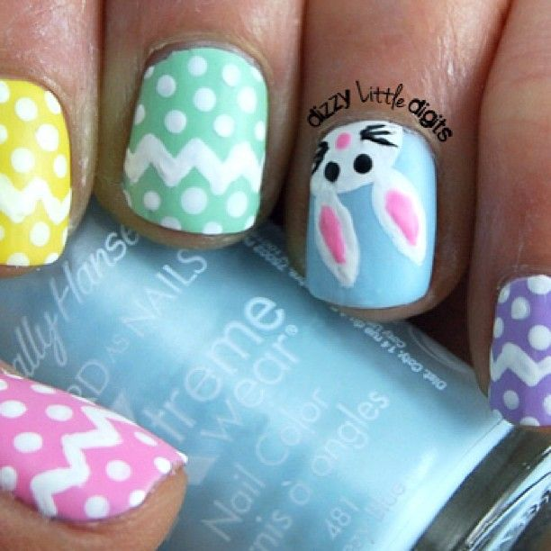 DizzyLittleDigits Easter nails 2013.