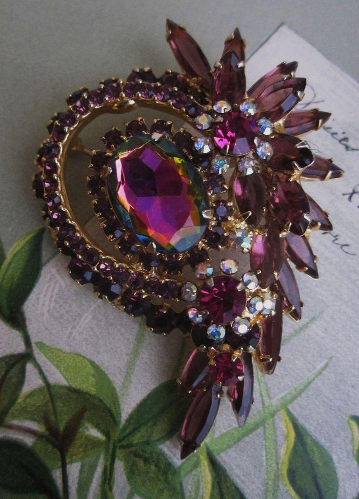 Vintage Juliana D & E Watermelon Rhinestone Brooch  Earrings Set