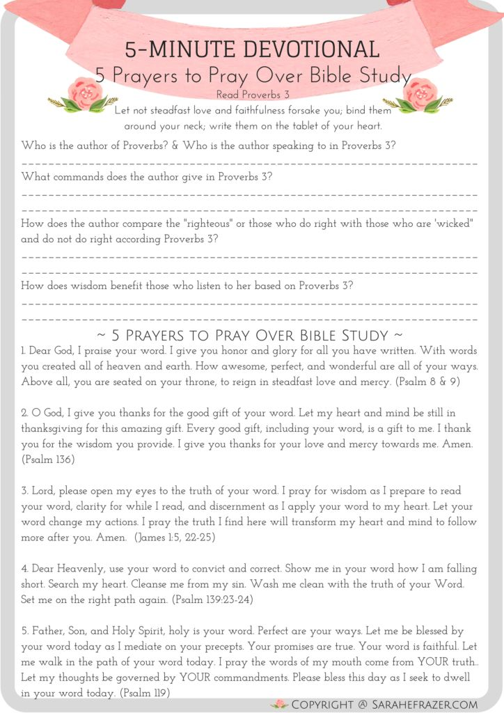 5 Minute Devotional for Women 5 Prayers to Pray Over Bible Study FREE printable!!! PDF