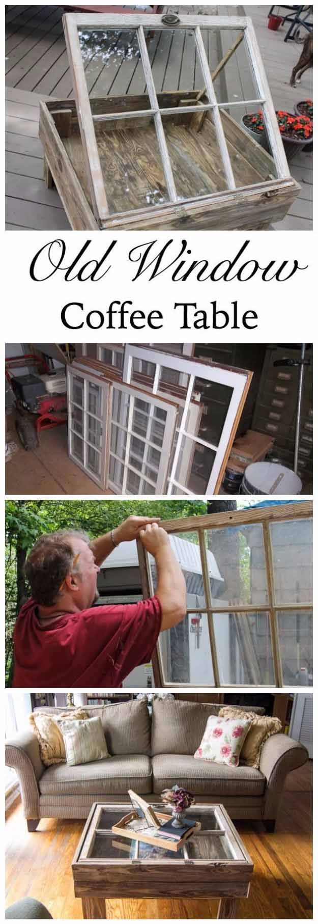 Easy DIY Furniture Ideas   Upcycling Projects with Old Windows   DIY Rustic Coffee Table Ideas   DIY Projects and Crafts by DIY JOY  at http://diyjoy.com/diy-home-decor-coffee-table-ideas