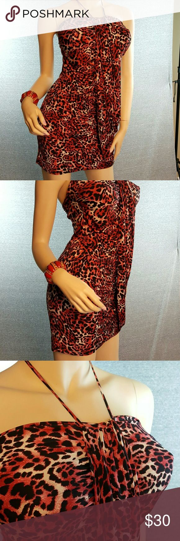 Red Cheetah Print Dress Club Party Super sexy poly/spandex dress with halter tie and drape panel over front. Like new, worn once. Sparkling Stars USA Dresses Mini