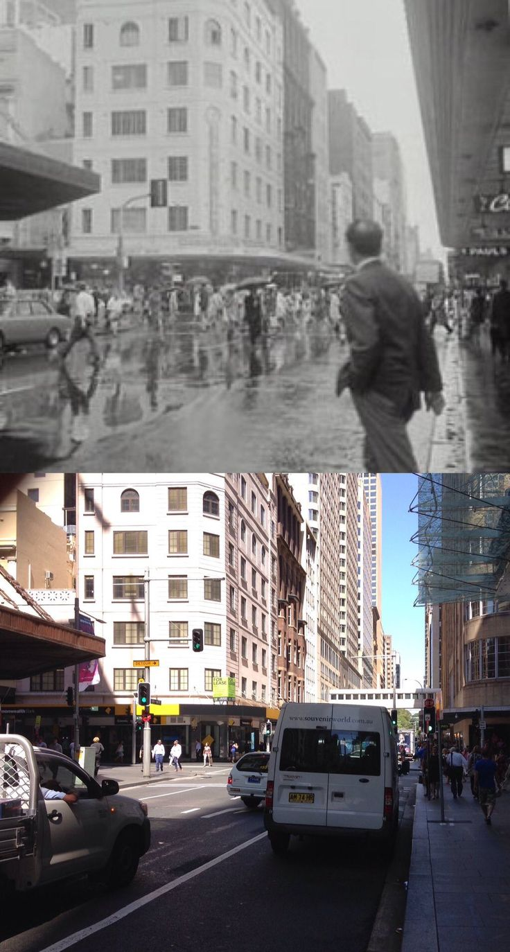 Castlereagh Street, looking south at Market Street in 1969 and in 2016. [1969 - City of Sydney Archives>2016 - Phil Harvey. By Phil Harvey]