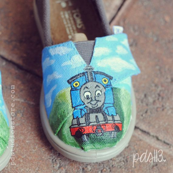 Custom Hand Painted Baby Tiny Toms, Thomas the Train Birthday Tiny Toms- I've been wanting to paint some Toms, this may be my first attempt!