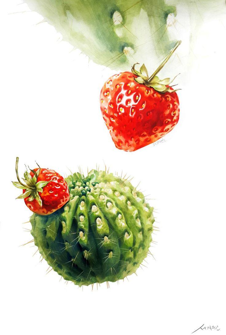 상명대 기초디자인 딸기 선인장