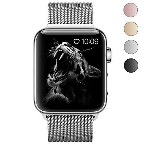 Lelong Apple Watch BandMilanese Loop Fully Magnetic Clasp Stainless Steel Mesh iWatch Band for Apple Watch Series 3 Series 2 Series 1 Sport & Edition- 38mm Silver