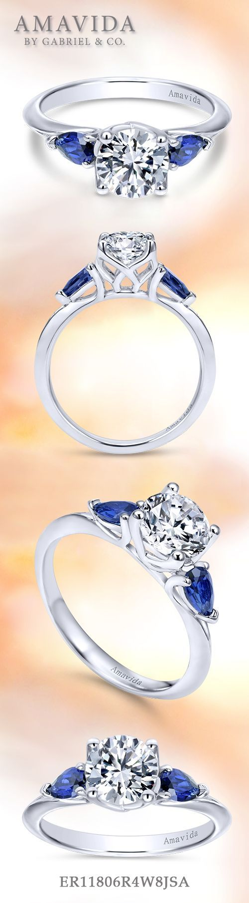 Amavida by Gabriel & Co. - Voted #1 Most Preferred Bridal Brand.   This impeccable three (3) stone engagement ring features two regal pear-shaped sapphire side stones.