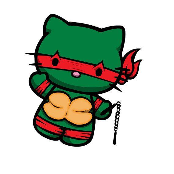 Hello Kitty Ninja Turtle Tmnt 5 Inch Vinyl Decal By