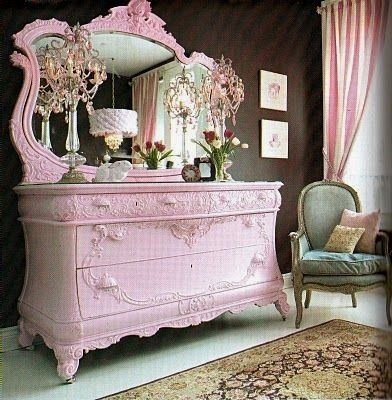 Pink Shabby Chic Dresser. am not completely in love with the color ._. i was thinking like tiffany blue?