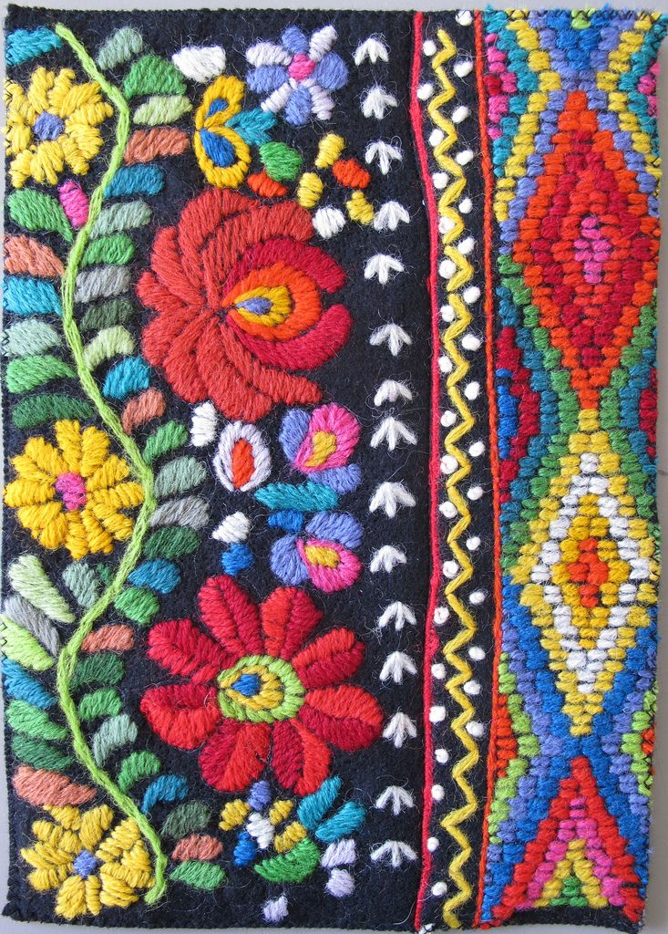 European Traditional Mexican Style Folk Art Floral Embroidery Motif For Use In Gypsy Boho Ethnic Crafts And Home Decor