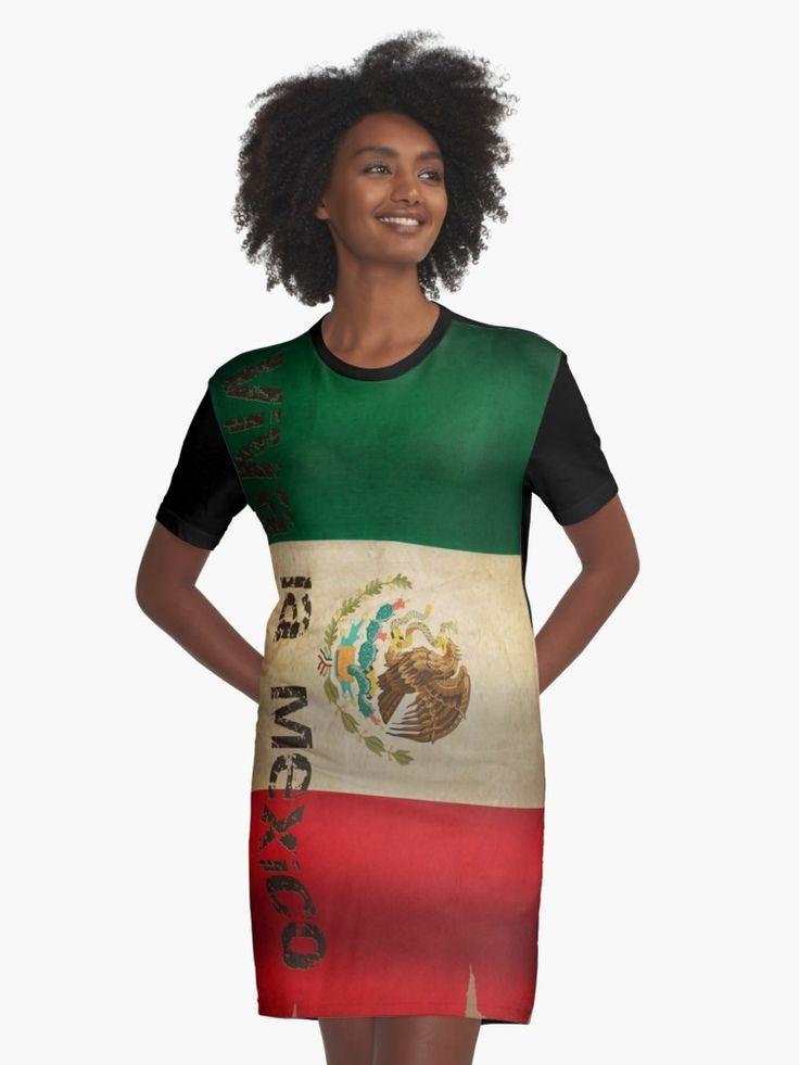 #Grunge #Flagge #Mexiko...  T-Shirt #Kleider von #pASob-dESIGN | #Redbubble https://www.redbubble.com/de/people/pasob-design/works/28122372-grunge-flagge-mexiko?asc=u