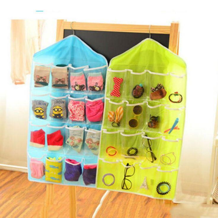 Multifunction Clear Socks Cosmetic Toy Underwear Sorting Storage Bag Door Wall Hanging Closet Organizer bag cajas organizadoras