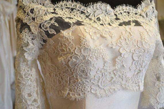 Alencon Lace Bridal Shrug, Alencon Lace Wedding Shrug, Lace Shrug - Ivory, Off-White, White