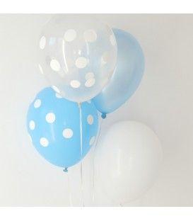 Globos azules, blancos y topos - 10 uds