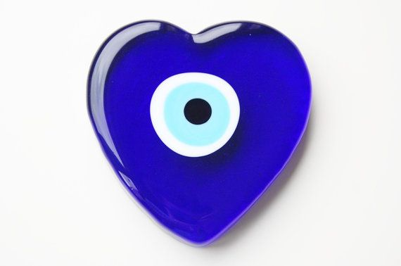 Heart Glass Evil Eye Paperweight by TheGrandBazaar on Etsy, $15.00