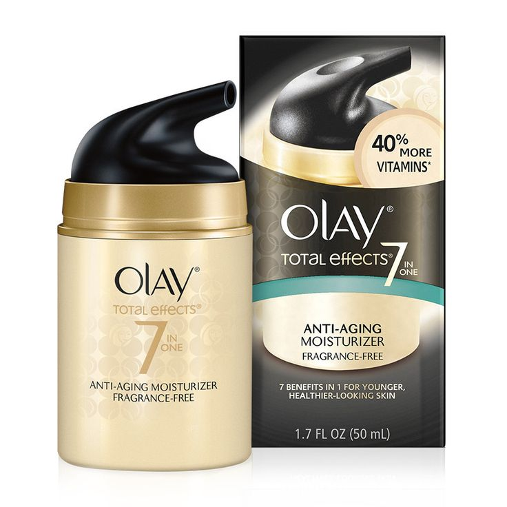 Shop Olay Total Effects Anti-Aging Fragrance-Free Moisturizer.  This daily moisturizer reduces wrinkles