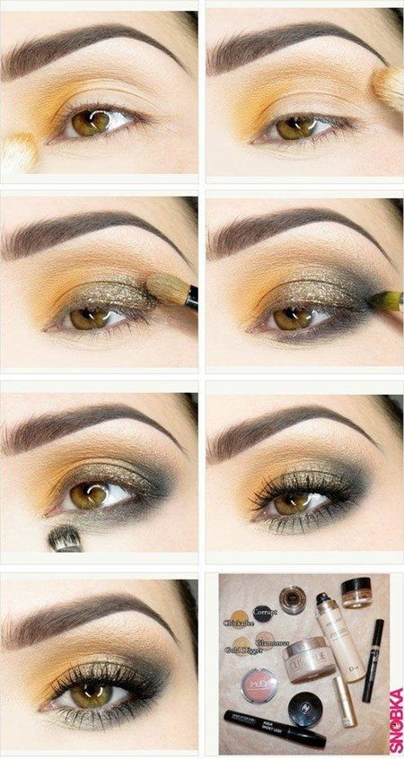 Pretty golden and orange eye-shadow look. Nice and easy to follow tutorial.