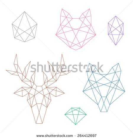 A set of several polygonal objects. Animal heads and crystals