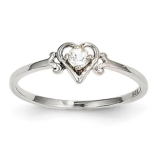 14K White Gold White Topaz Birthstone Heart Ring YC415