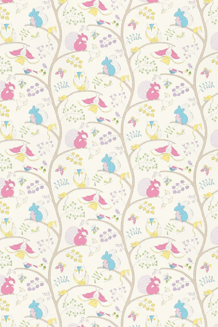 Going Batty  Pink/ Blue fabric by Sanderson