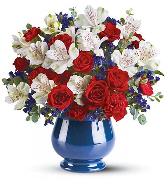 13 best images about red white and blue on pinterest red for Red white blue flower arrangements
