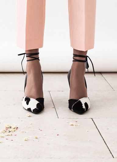 Dear Frances | Marli pointed heels | Printed pony hair + black nappa with removable ankle lace | Modern elegance