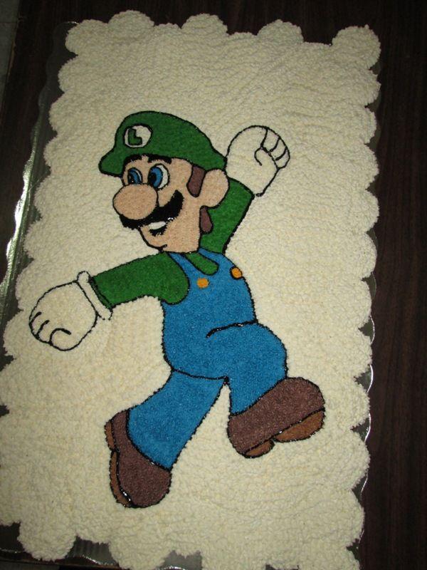 Pastel Luigi de Mario Bros 100 Cupcakes de vainilla Diseño en betún de mantequilla