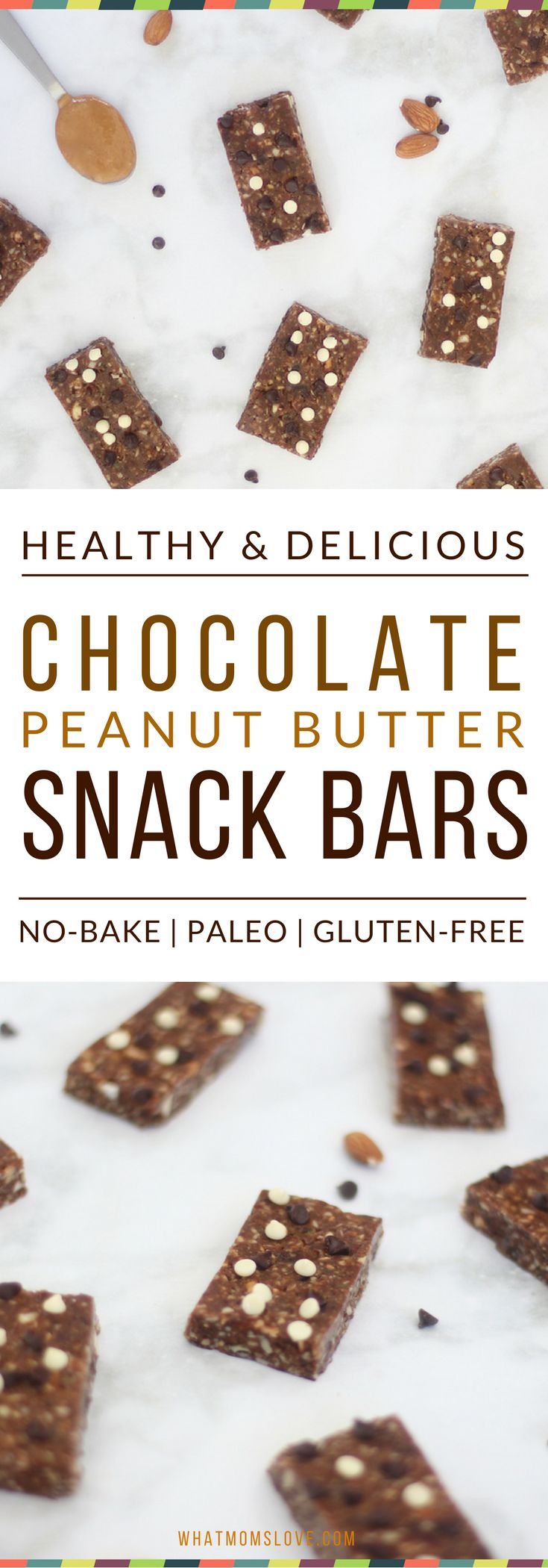 Looking for a healthier, homemade alternative to store-bought granola bars? These Double Chocolate Peanut Butter Snack Bars may sound indulgent, but they are packed with protein, healthy fats and antioxidants. There's no refined sugar, they'll give you tons of energy and help with your clean eating. No-bake and super simple to make. Bonus: they are Vegan, Gluten-Free and Paleo compliant!