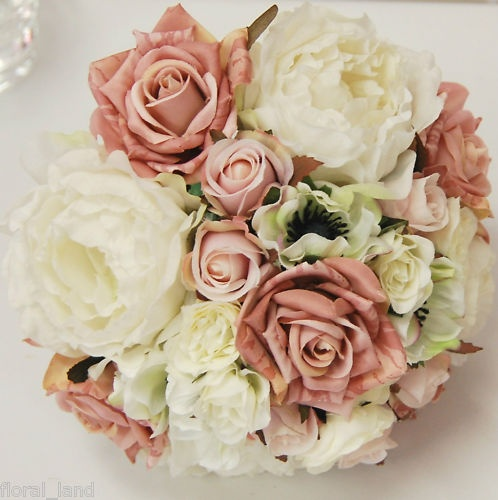 Latex silk wedding bouquet pink cream flower rose posy - Ramos de flores naturales fotos ...