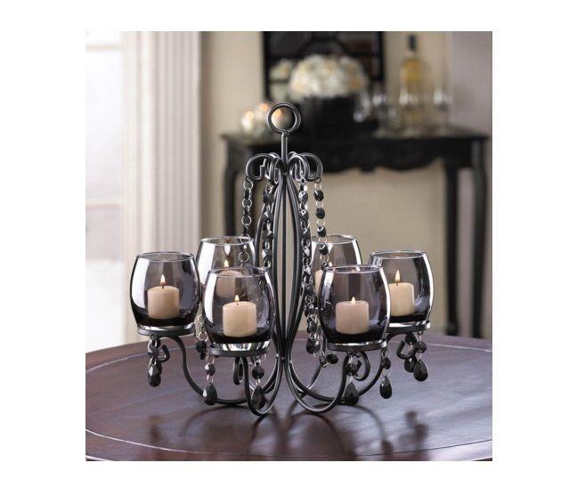Hanging Candle Chandelier Iron Tealight Glass Beaded Black Candle Holder Decor  #HangingCandleChandelier #ModernContemporary