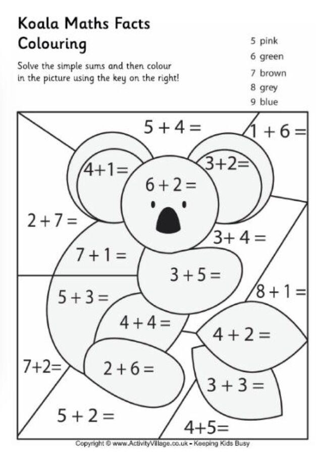 Koala math worksheet