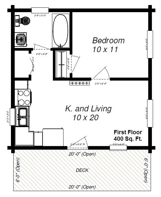 Small cottages under 600 sq feet panther 89 with loft for Square log cabin plans