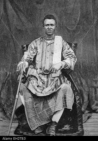 Behanzin, King of the Kingdom of Dahomey, Africa, historical illustration circa 1893 Stock