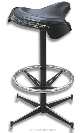 Harley-Davidson® Solo Saddle Bar Stool  What if I just used old bicycle seats to make bar stools !?!?