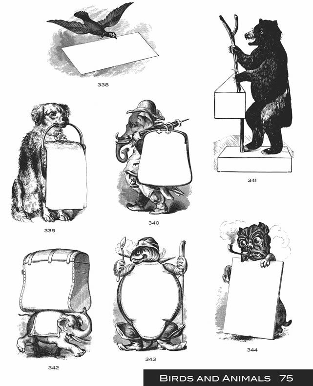 Free printables/downloads Dover Publications animals signs