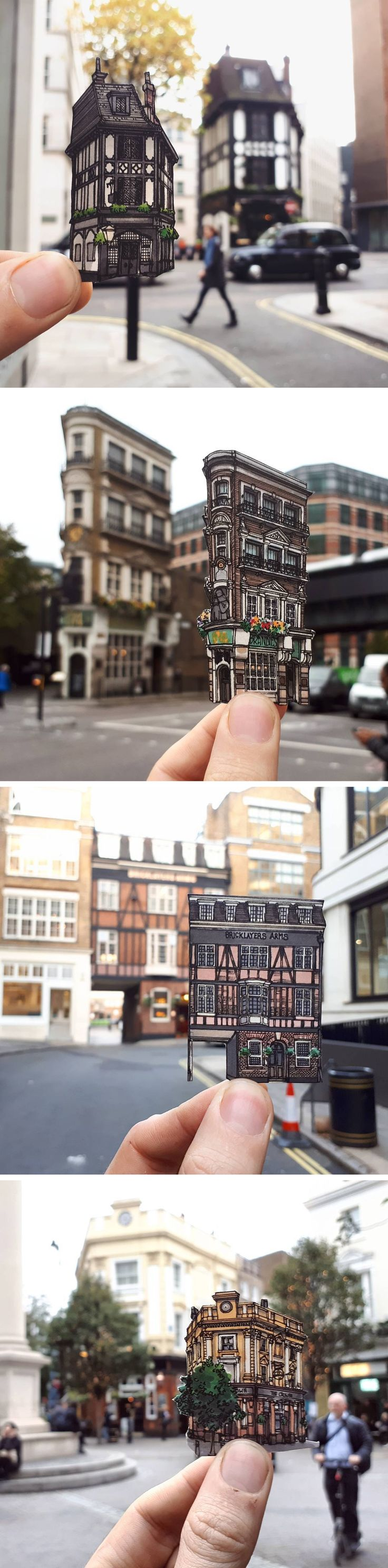 Cut-Out Ink and Pen Illustrations of London's Oldest Pubs and Other Landmarks by Maxwell Tilse