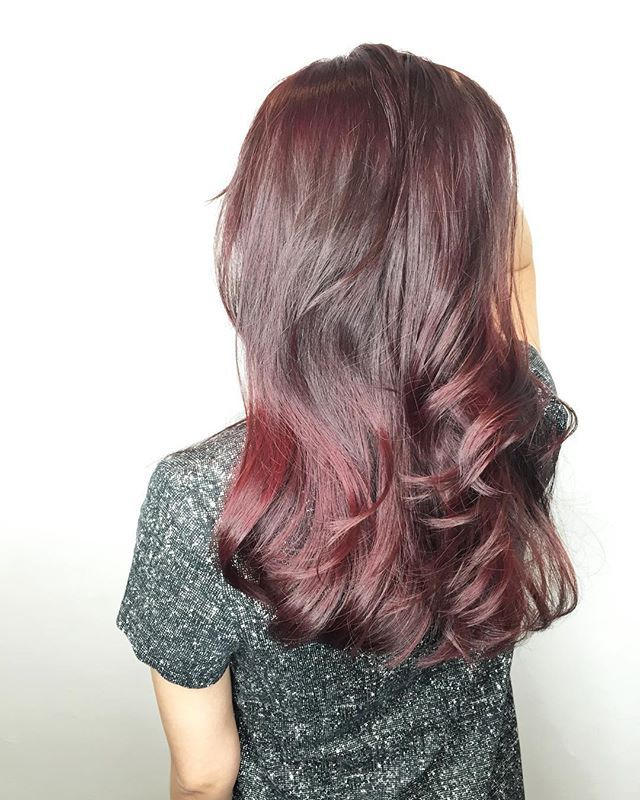 Ombré Cranberry red CLEO hair international call here 63385250 for book appointment #hair #hairdo #haircut #haircolor #hairstyle #color #colors #colour #colours #cramberry #red #redhair #redhead #takuyahair #cleohairsg #longhair #Singaporean #photograph #iphone6