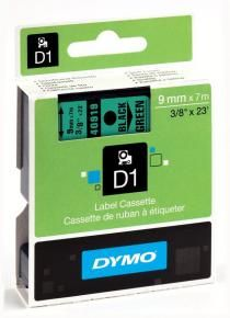 Dymo S0720740 Standard tape D1 [9mm x 7m adhesive Black/Green]