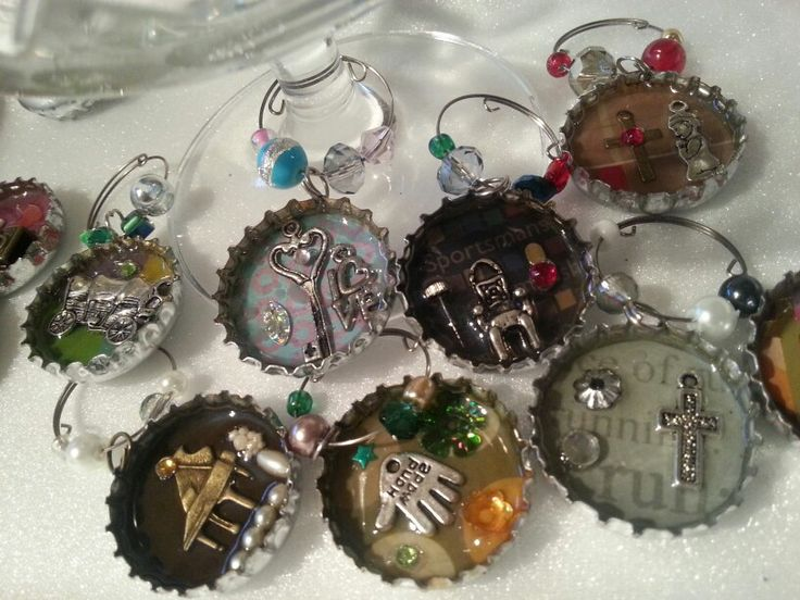 Bottle cap recycled glass charms by Caren