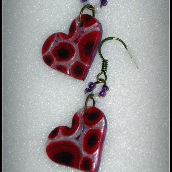 "Heart dangle Earrings. Stylish earrings were handmade from polymer clay. A ""millifiori"" polymer clay design. Quite unique and never to repeat itself! This cheerful, spring/summer combination of colors will add charm to any outfit. About 3,5 cm long with ear piece."