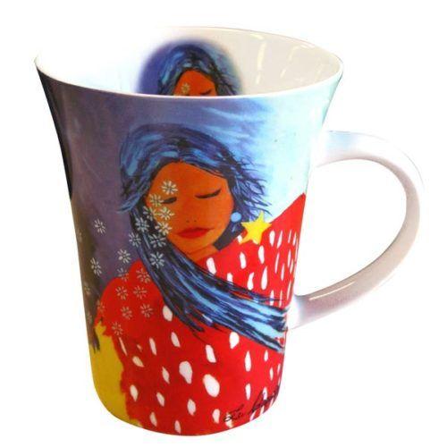 Porcelain ' At Peace with the Universe ' mug featuring artwork by Lee Claremont #porcelainmug #firstnationsart #coffeemug #teamug #mugs