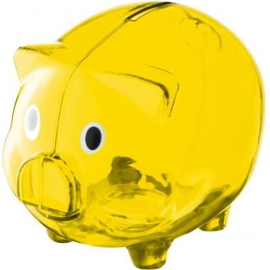 Translucent promotional Piggy Bank in yellow customised with your logo and brand :: Promotional Piggy Banks :: Promo-Brand :: Promotional Pr...