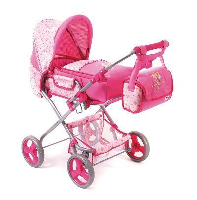 Een Chic 2000 Bambina poppenwagen Lillifee. Deze combi poppenwagen is voorzien van een leuk design, heeft een boodschappennetje en een luiertas. Een in hoogte verstelbare duwstang, 40 tot 80 cm afmetingen: 83 x 46 x 82 cm