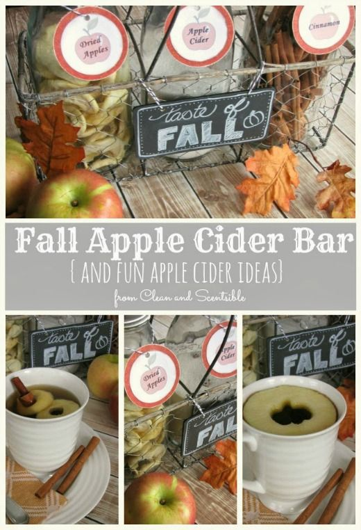 Fun apple cider bar and recipe.  Some cute ways to present it too!