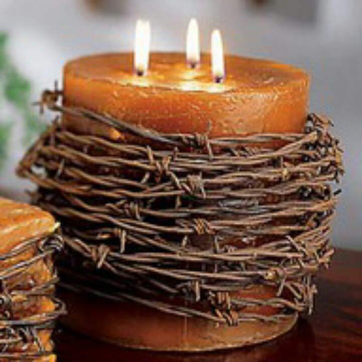 Barbed wire candle holder