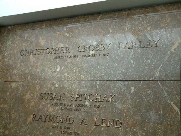 Chris Farley~RESURRECTION CEMETERY CHAPEL MAUSOLEUM  MADISON, WISCONSIN