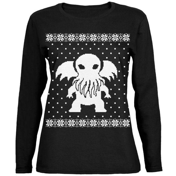Big Cthulhu Ugly XMAS Sweater Black Womens Long Sleeve T-Shirt