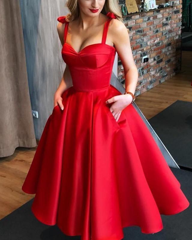 Spaghetti Straps Sweetheart Satin Ball Gowns Bridesmaid Dresses Tea Length