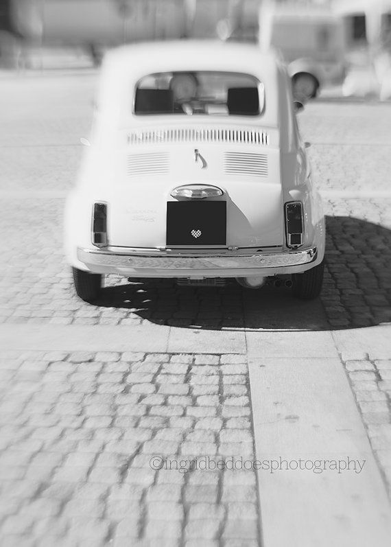 Fiat 500 car  black and white photography  by IngridBeddoes